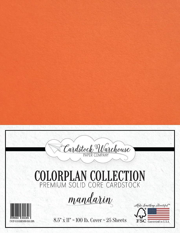Mandarin Orange Cardstock Paper - 8.5 x 11 inch Premium 100 lb. Cover - 25 Sheets from Cardstock Warehouse