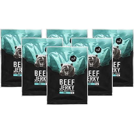 Carne seca de res - Beef Jerky original - 6x 50g - 53% de proteína - Baja en grasa (2,6%) y carbohidratos (1,6%) - Solo ingredientes naturales - Como ...