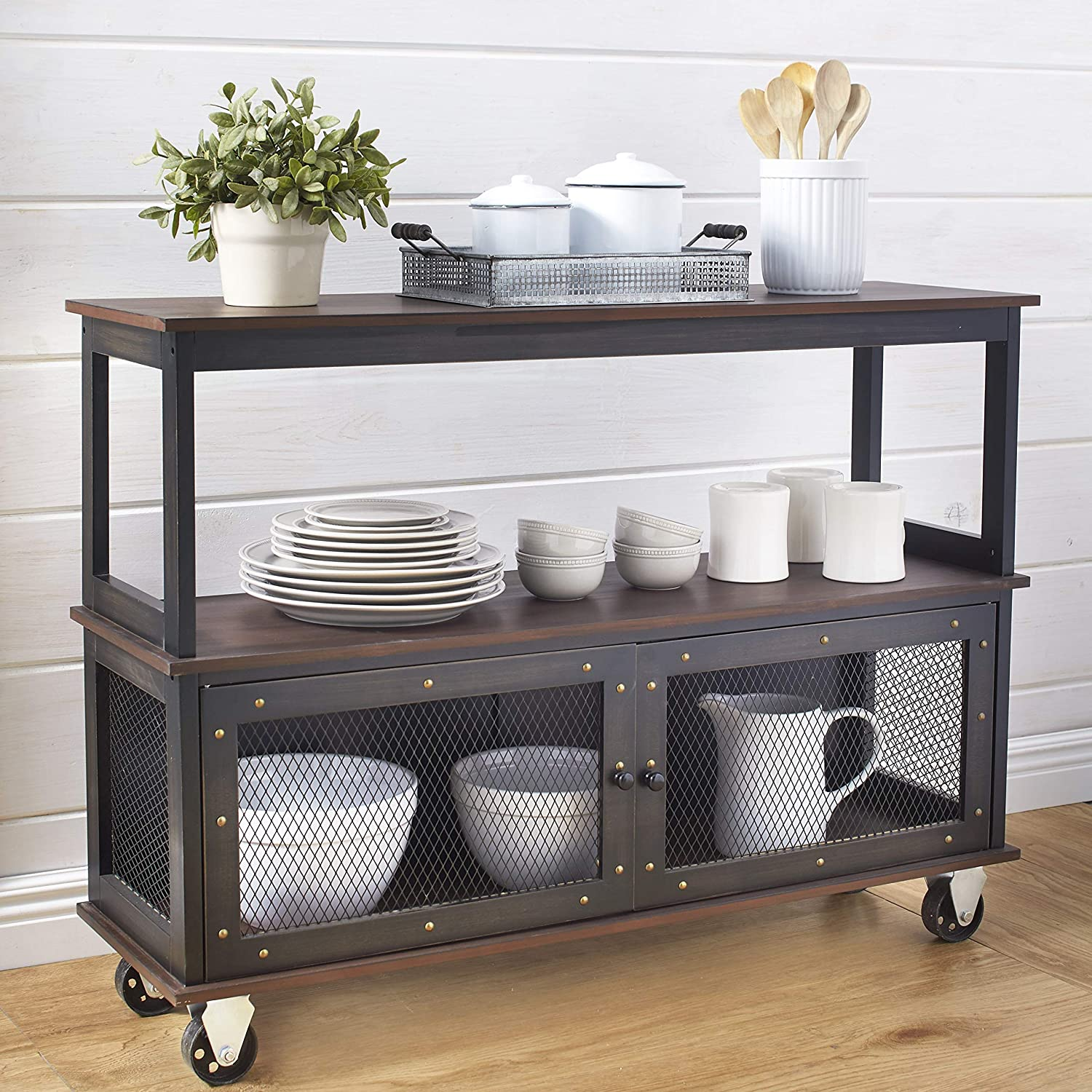 The Lakeside Collection Industrial-Style Buffet 3-Tier Portland Mall C Rolling Atlanta Mall