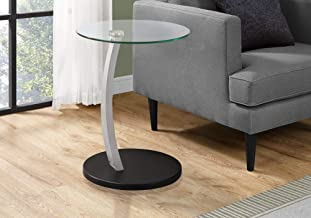 Monarch Specialties Bentwood Accent Table with Tempered Glass, Black