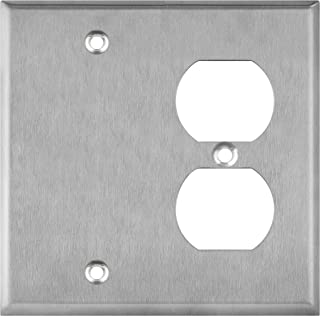 ENERLITES Combination Blank Device/Duplex Receptacle Outlet Metal Wall Plate, Corrosive Resistant, Size 2-Gang 4.50