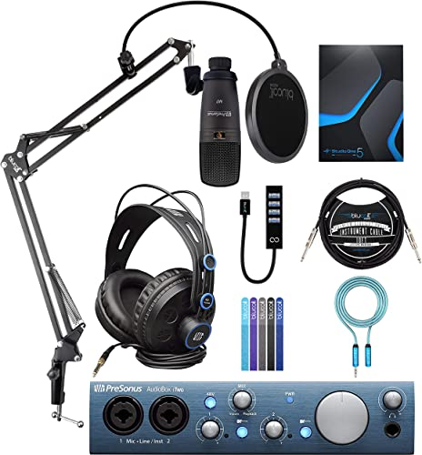 discount PreSonus AudioBox iTwo USB 2.0 Audio Interface outlet online sale Recording Bundle with Blucoil Boom Arm Plus Pop Filter, USB Hub Type-A, 10' Straight Instrument Cable, 6' 3.5mm Extension Cable, 2021 and 5x Cable Ties online sale