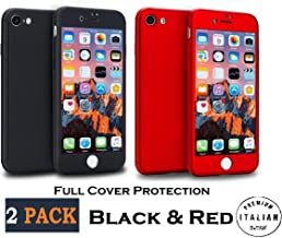 Premium Italian Design [2 Pack] Red & Black Compatible with iPhone 8 Case and iPhone 7 Case Full Body 360 with 2 Tempered Glass Screen Protector and Waterproof Bag Included