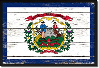West Virginia State Flag Vintage Canvas Print with Black Picture Frame Gift Ideas Home Decor Wall Art Decoration, 13