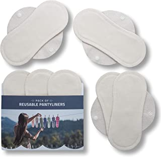 Reusable Panty Liners, 7-Pack SMALL Bamboo Washable Panty Liners for Women, Reusable Cloth Pantyliners MADE in EU, Organic...
