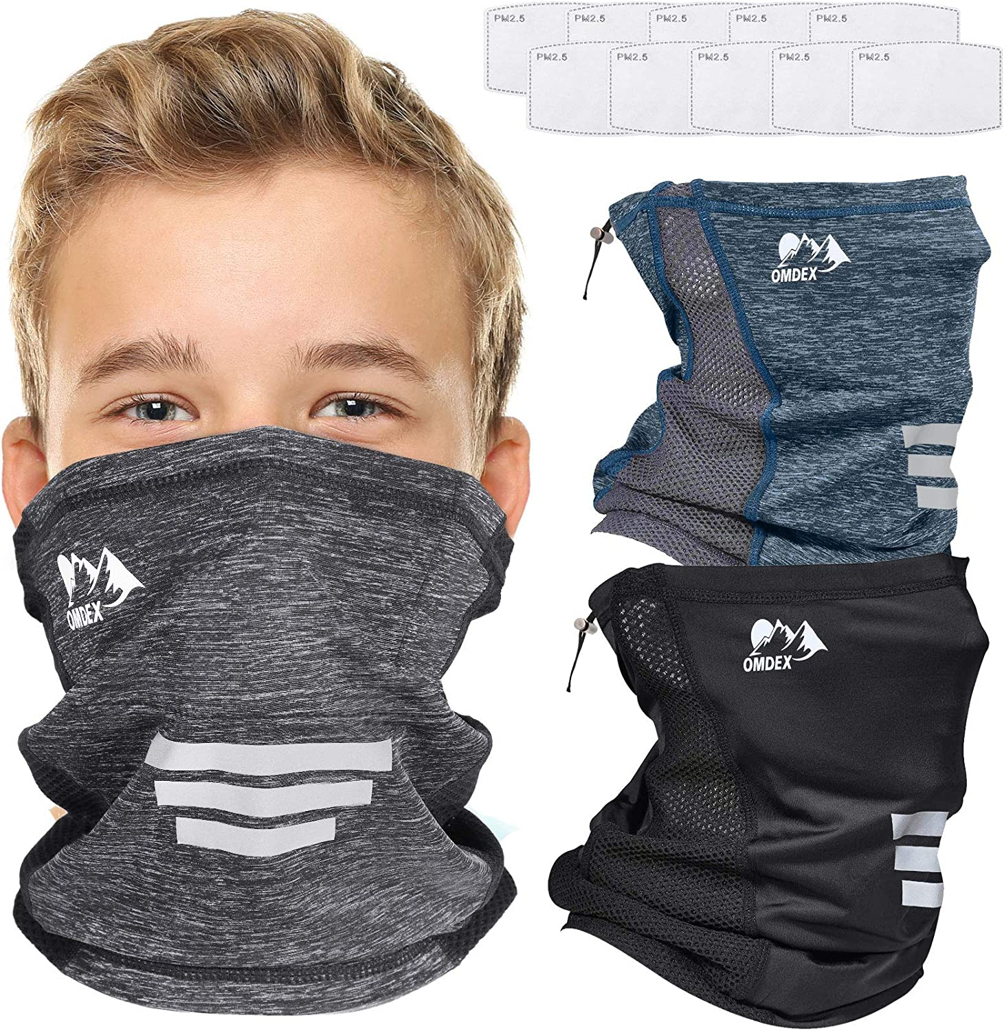 OMDEX 3 Pack Kids Neck Gaiter Mask with Filter and...