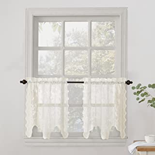 No. 918 Alison Floral Lace Sheer Kitchen Curtain Tier Pair, 58