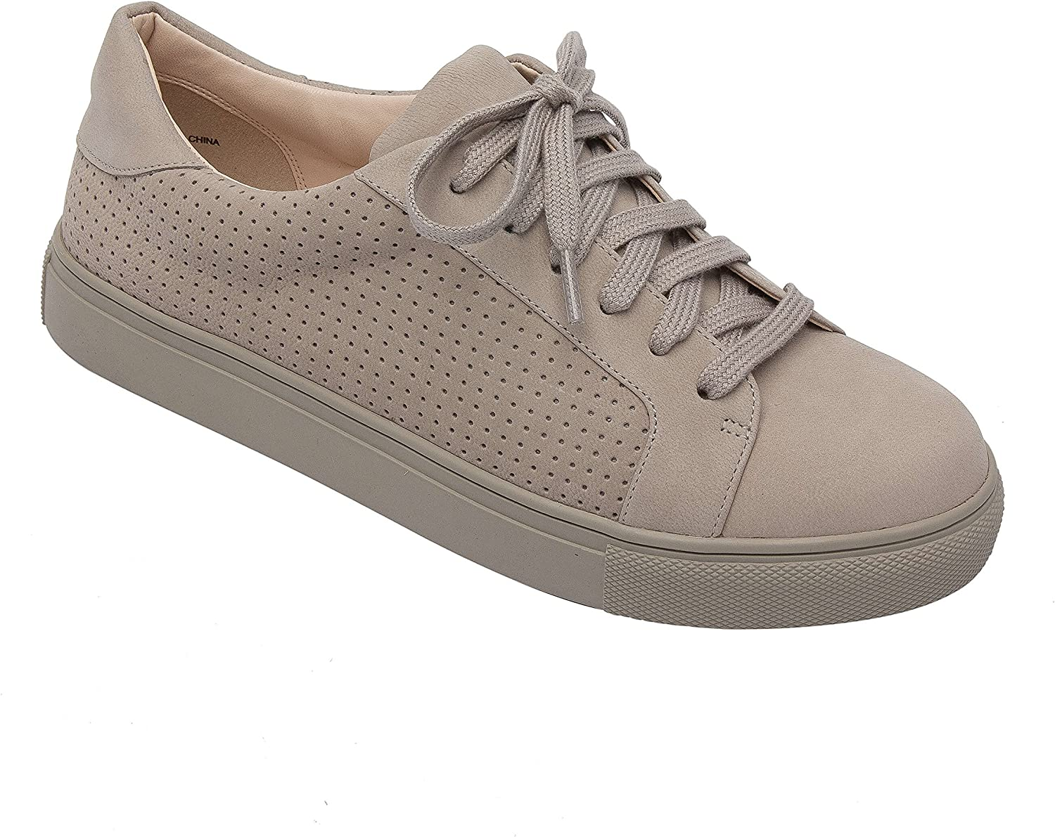 Pic & Pay OLLYN   Women's Lace-Up Perforated Leather or Suede Comfortable Fashion Sneaker Grey Nubuck 9.5M