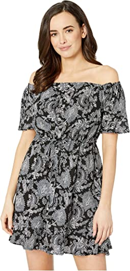 Sweetheart Paisley Cold Shoulder Ruffle Cover-Up