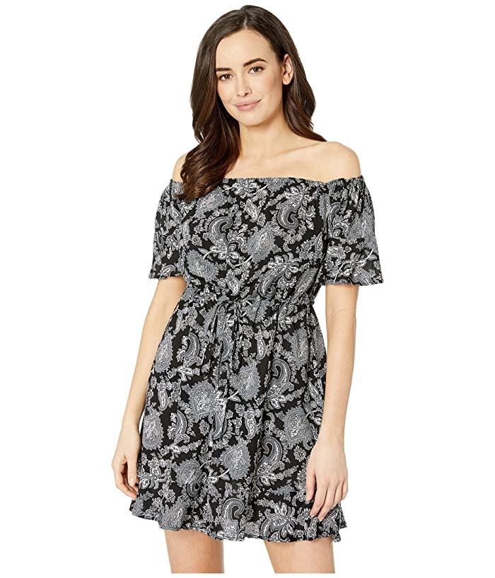 MICHAEL Michael Kors Sweetheart Paisley Cold Shoulder Ruffle Cover-Up (Black) Women