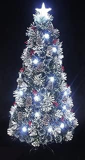 Snowy White Pine Pre-lit Flocked Christmas tree/Flocked Fiber optic Christmas tree with cool white LED light and star tree topper (5ft)