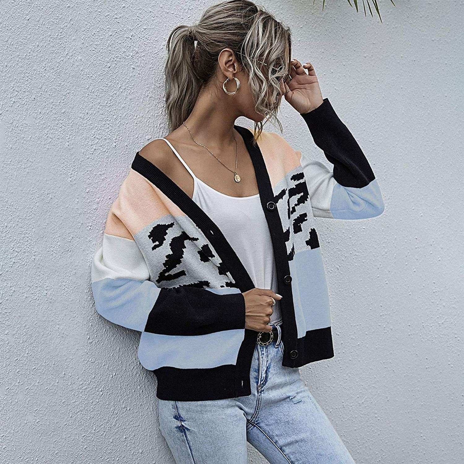 Liandan Women's V-Neck Don't miss the campaign Single Quantity limited Breasted Double Pockets Cardigan L