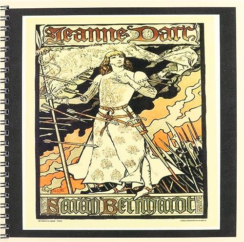 3dRose DB_43806_1 Jeanne d'arc Art Nouveau Poster Peach N noir Frames Livre de Dessin 20,3 x 20,3 cm