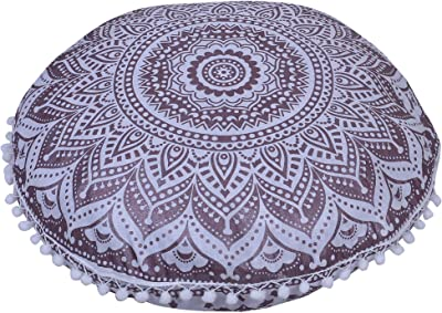 GOKUL HANDLOOM ONLY Cushion Cover (20 INCHES, Chocolate Gold)