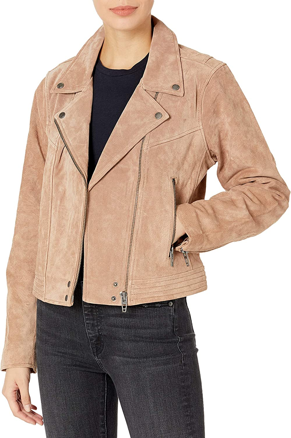 [BLANKNYC] womens Luxury Clothing Suede Motorcycle Jacket With Zipper Pocket Detail