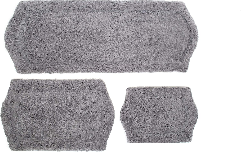 Chesapeake Merchandising Paradise Memory Foam 3 pc Bath Rug Set, 22  x 60 , 21  x 34  & 17  x 24 , Grey, 3 Piece