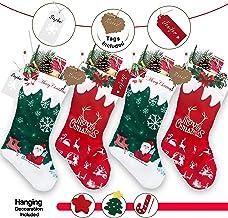 "RFAQK Personalized Christmas Stockings 4 Pack- Name Tags & Hanging Christmas Decorations, 18"" Large Xmas Santa Stockings- ..."