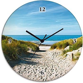 Wanduhr Echt-Glas-Küchenuhr 30x30 Deko Bilder-Motiv Weg zum Strand Beige