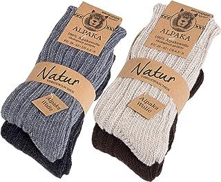 BRUBAKER, 4 pares de calcetines hombre de pura lana de alpaca naturales y grises