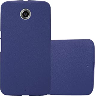 Cadorabo Case Works with Motorola Nexus 6 in Frost Dark Blue – Shockproof and Scratch Resistant TPU Silicone Cover – Ultra Slim Protective Gel Shell Bumper Back Skin