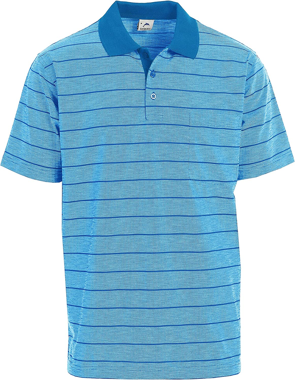Gioberti Mens Super beauty product restock quality top Regular Fit Yarn Dye Sleeve Polo Short Shi Striped Latest item