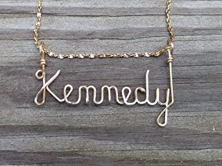 Hand Scripted 14K Gold Filled Personalized Name Necklace Kennedy (Mens)