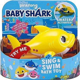 Best Robo Alive Junior Baby Shark Battery-Powered Sing and Swim Bath Toy by ZURU - Baby Shark (Yellow) Review