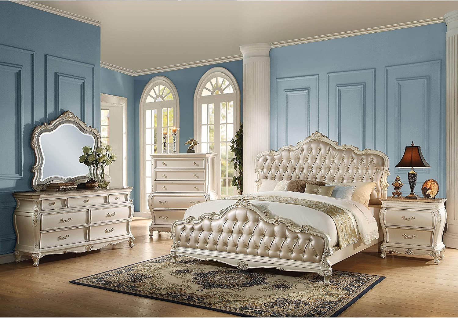 Acme Furniture Chantelle 4-Piece Bedroom Set, Rose Gold PU Leather with Pearl White Finish Eastern King