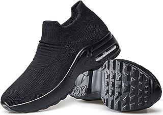 حذاء مشي نسائي من DOUSSPRT سهل الارتداء جورب رياضي للسيدات والفتيات ممرضة شبكة وسادة هوائية نعل حذاء بدون كعب عصري كاجوال