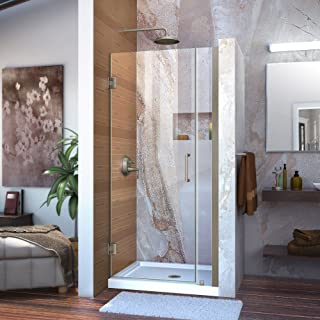 DreamLine Unidoor 32-33 in. W x 72 in. H Frameless Hinged Shower Door in Brushed Nickel, SHDR-20327210-04