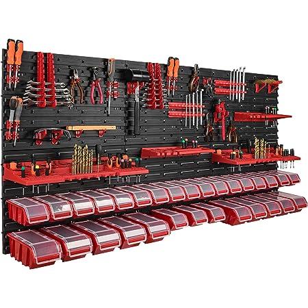 empilable rouge//noir Bo/îte de rangement avec couvercle et /étag/ère murale 80 x 80 cm