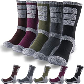 DearMy 5Pack of Women's Multi Performance Cushion Outdoor Hiking Crew Socks | Moisture Wicking | Gifts for Women | Year Round