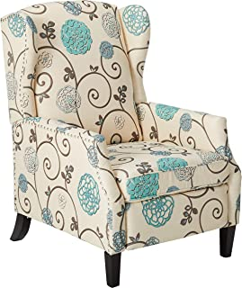 Christopher Knight Home Westeros Recliner Chair, White & Blue Floral