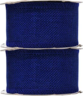 Mandala Crafts Burlap Ribbon, Jute Fabric Strip Spool for Rustic Ornament, Wreath Making, Holiday Decorating, Gift Wrapping (Royal Blue, 2 Inches)