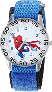 MARVEL Boys Spider-Man Analog-Quartz Watch with Nylon Strap, Blue, 16 (Model: WMA000175