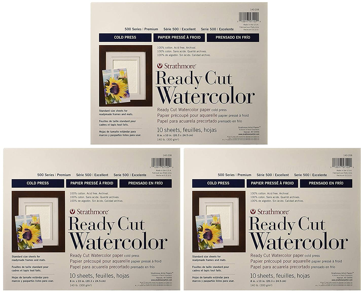 3-Pack - Strathmore 140-208 500 Series Ready Cut Watercolor Paper, 140 lb. Cold Press, 8