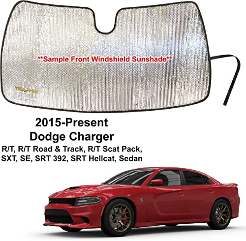 popular YelloPro Custom Fit Front Windshield Sunshade Accessories UV Reflector for 2015 2016 2017 2018 2019 sale 2020 2021 Dodge Charger RT, Road & Track,Scat new arrival Pack, SXT, SE, SRT 392, Hellcat Sedan outlet sale