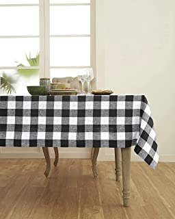 Solino Home 100% Pure Linen Buffalo Check Tablecloth - 60 x 120 Inch, Black & White - Rectangular Linen Tablecloth for Ind...