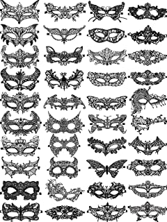 40 Pieces Black Lace Masquerade Mask Black Venetian Lace Eye Mask for Women Cosplay Party