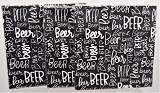 """Beer Themed 3 Ply Party Black Paper Napkins 9.75"""" Square 3 Packages 30 Total Count"""