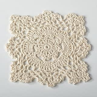 Fennco Styles Handmade Crochet Traycloth Cotton Doilies (6-inch Square Set of 4, Beige )