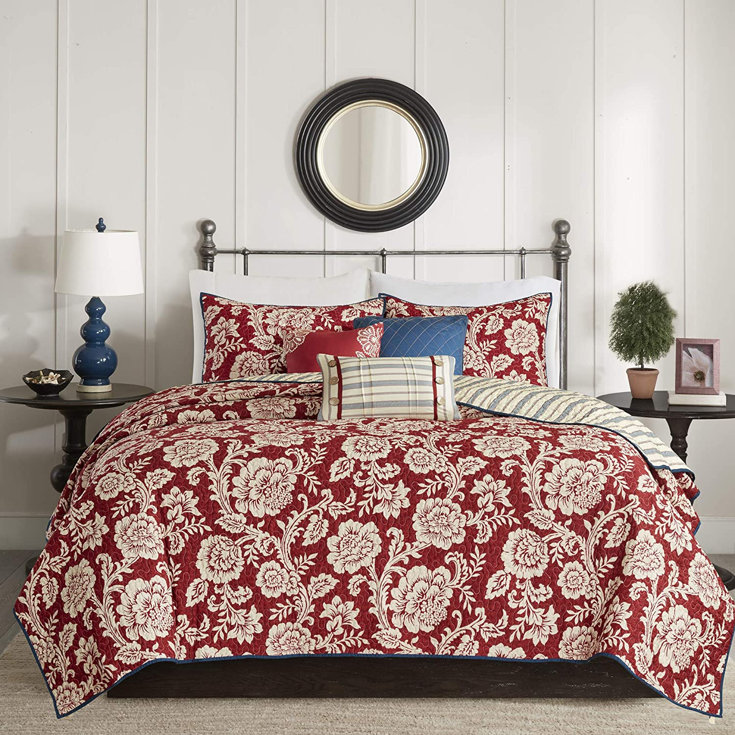 Madison Park 100% Cotton Set Floral Print, Double Sided Quilting All Season, Lightweight Coverlet Bedspread Bedding, Matching Shams, King/Cal King, Lucy, Red 6 Piece
