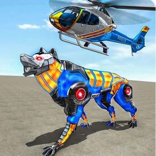 Wolf Robot Transform Hubschrauber Polizei Spiele: Robot Kampf: Minibot Schlacht: Roboter gegen Stahl Champions: Online Shooting Robot Battle Action-Spiele