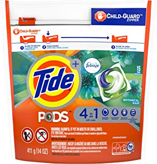 Tide PODS Plus Febreze Odor Defense 4 in 1 HE Turbo Laundry Detergent Pacs, Botanical Rain Scent, 15 Count Bag