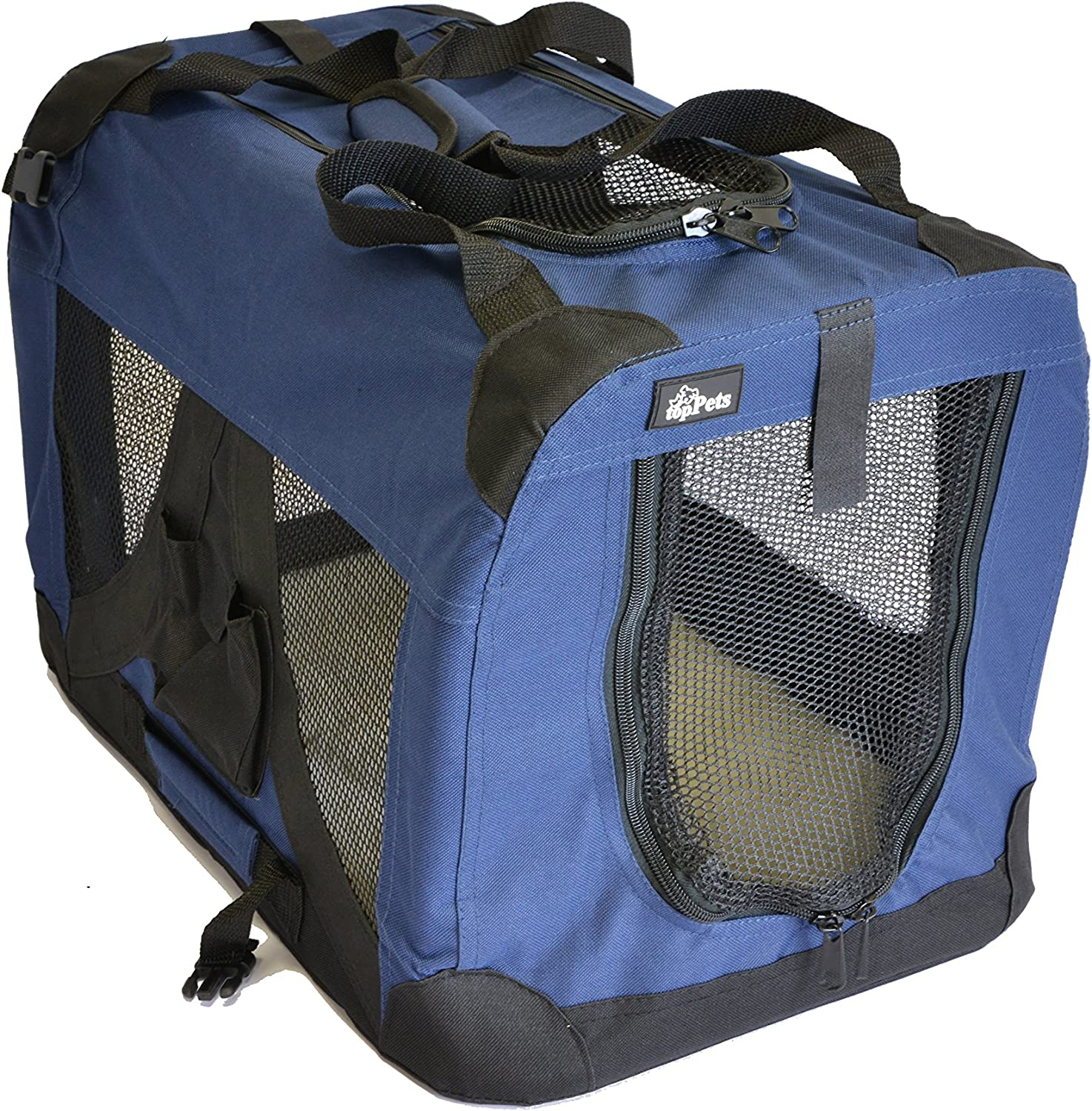 Portable Soft Pet Crate or Kennel for Dog, Cat, or other small pets. Great for Indoor and Outdoor (Dark bluee, Small  19\ x14\ x14\ )