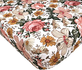 The Mini Scout Garden Floral (White) - Woven Cotton Fitted Crib Sheet for Baby Nursery Bedding Inspiration, Infant Bassine...