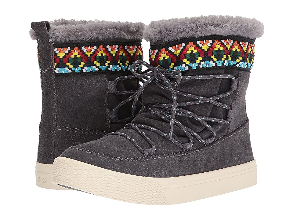 TOMS Alpine Water-Resistant Boot (Forged Iron Grey Waterproof Suede/Tribal Webbing) Women