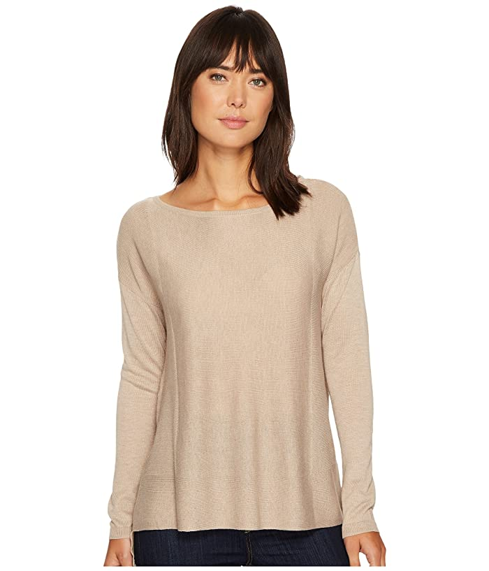 NYDJ Boat Neck Sweater w/ Split Back (Taupe Heather) Women