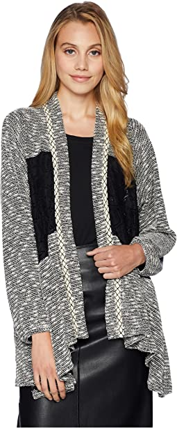 Cardigan w/ Contrast Lace Fabric