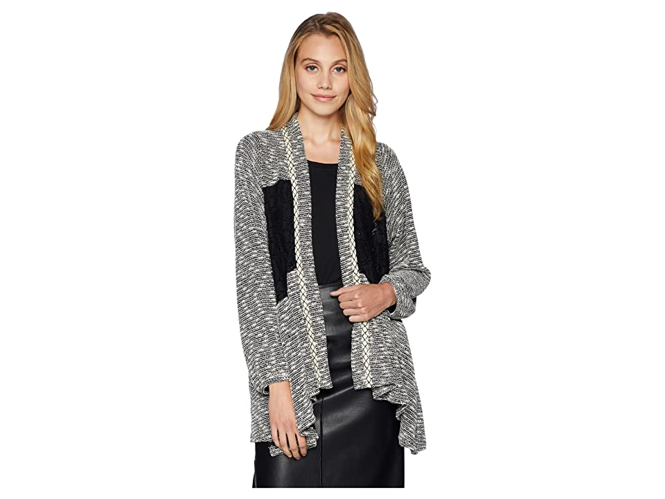 Miss Me Cardigan w/ Contrast Lace Fabric (Grey) Women
